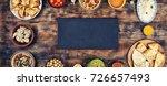 assorted indian food on wooden... | Shutterstock . vector #726657493