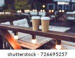 two cups takeaway coffee on...   Shutterstock . vector #726695257