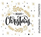 merry christmas text with hand...   Shutterstock .eps vector #726698503