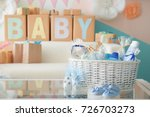 wicker basket with gifts for... | Shutterstock . vector #726703273