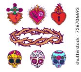mexican sacred hearts  sugar... | Shutterstock .eps vector #726706693