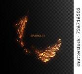 fire sparks isolated on black... | Shutterstock .eps vector #726716503