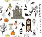 halloween seamless pattern with ... | Shutterstock .eps vector #726719527