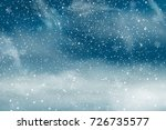 christmas landscape with... | Shutterstock . vector #726735577