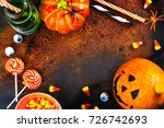 halloween greeting card. copy... | Shutterstock . vector #726742693