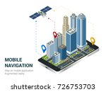 isometric smart city or mobile... | Shutterstock .eps vector #726753703