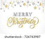 merry christmas card. hand... | Shutterstock .eps vector #726763987