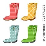 set of gumboots on a white...   Shutterstock .eps vector #726771373