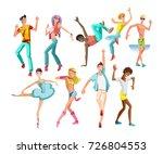beautiful  sporting dancing... | Shutterstock .eps vector #726804553