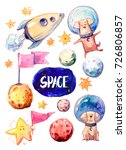 set of cartoon space objects ... | Shutterstock . vector #726806857