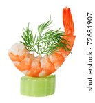 Shrimp canape with celery and dill twig, isolated on white macro - stock photo