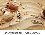 summer background. seashells on ... | Shutterstock . vector #726820933