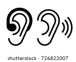 hearing aid and ear icon.... | Shutterstock .eps vector #726822007