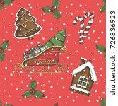 christmas seamless background... | Shutterstock .eps vector #726836923