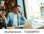 businessman in cafe using... | Shutterstock . vector #726838957