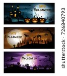 happy halloween day banner set | Shutterstock . vector #726840793
