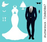 wedding card with the clothes... | Shutterstock .eps vector #726865867