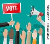 raised up hands. people vote... | Shutterstock .eps vector #726869083