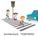 children cross the road to a... | Shutterstock .eps vector #726878503