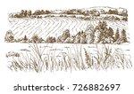 agricultural landscape. hand...   Shutterstock .eps vector #726882697