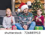 adorable little kids and father ... | Shutterstock . vector #726885913