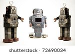 three retro robots - stock photo
