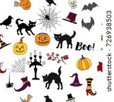 halloween seamless pattern with ... | Shutterstock .eps vector #726938503