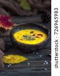 homemade pumpkin cream soup... | Shutterstock . vector #726965983