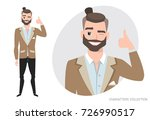 positive guy smiling and... | Shutterstock .eps vector #726990517