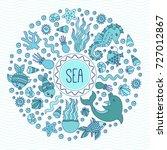 sea ocean underwater creatures...   Shutterstock .eps vector #727012867
