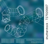 blue. drawings of steel... | Shutterstock .eps vector #727020007