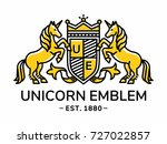 unicorn emblem heraldry line... | Shutterstock .eps vector #727022857
