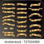 set of golden ribbon. banner... | Shutterstock .eps vector #727026583