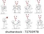 set of wedding pictures  bride... | Shutterstock .eps vector #72703978