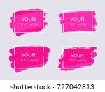 grunge set of pink paint  ink... | Shutterstock .eps vector #727042813