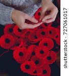 woman's hands knitting poppies... | Shutterstock . vector #727061017