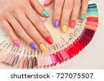 summer manicure and nail color... | Shutterstock . vector #727075507