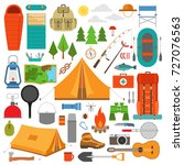 hiking icons set. camping... | Shutterstock .eps vector #727076563