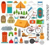 mountain hike elements. camping ... | Shutterstock .eps vector #727076707