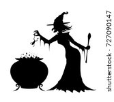 witch in a long black dress... | Shutterstock .eps vector #727090147