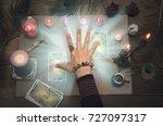 fortune teller reading future... | Shutterstock . vector #727097317