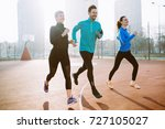 friends fitness training... | Shutterstock . vector #727105027
