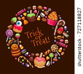 halloween sweets round frame....   Shutterstock .eps vector #727118827