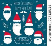 christmas and new year set with ... | Shutterstock .eps vector #727125193