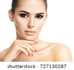 portrait of young woman with... | Shutterstock . vector #727130287