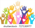 hands with hearts. silhouette... | Shutterstock .eps vector #727130977