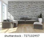 modern bright interiors. 3d... | Shutterstock . vector #727132957