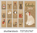 Stock vector calendar cute monthly calendar with forest animals 727151767