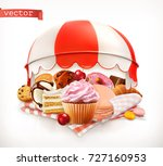 pastry shop  confectionery.... | Shutterstock .eps vector #727160953