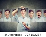 masked man teenager expressing... | Shutterstock . vector #727163287